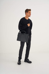 Oroton Eton Griptop in Black and Saffiano/Smooth Leather for male