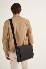 Oroton Eton Satchel in Black and Saffiano/Smooth Leather for male