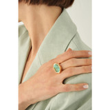 Oroton Millie Stone Ring in Gold/Turquoise and Brass Base Metal With Precious Metal Plating/Stone/Resin Stone for female