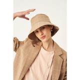 Oroton Jerome Mini Check Bucket Hat in Camel and 62% Linen 38% Cotton for female