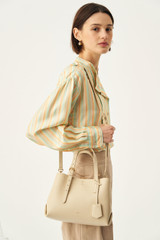 Oroton Margot Mini Day Bag in Light Sand and Pebble Leather for female