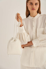 Oroton Lilia Crossbody in Pure White and Smooth Leather for female