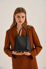 Oroton Muse Medium Bucket in Black and Saffiano Leather for female