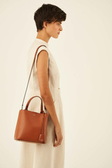 Oroton Muse Medium Bucket in Cognac and Saffiano Leather for female