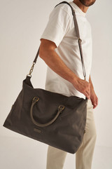Oroton Otto Nylon Weekender in Dark Slate and Nylon Oxford With Faux Leather Backing/ Pebble Leather for male