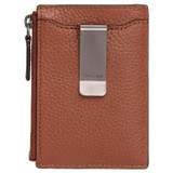 Oroton Harry Pebble Money Clip Credit Card Sleeve in Cognac and Pebble Leather for male