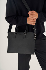 """Oroton Hugo 13"""" Slim Laptop Bag in Black and Saffiano Leather for male"""