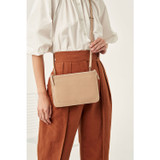 Oroton Lucy Double Zip Crossbody in Praline and Pebble Leather for female