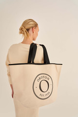 Oroton Kaia Shopper Tote in Natural Black and Coated Canvas for female
