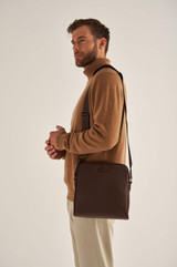 Oroton Harry Pebble Zip Around Satchel in Cedar and Pebble Leather for male