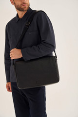 Oroton Harry Pebble EW Satchel in Black and Pebble Leather for male