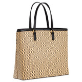 Oroton Harriet Medium Tote in Black Natural and Printed Paper Woven Straw/ Faux Leather Trims for female