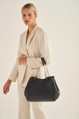 Oroton Nina Three Pocket Day Bag in Charcoal and Pebble Leather External, Lining Of Front And Back Body Of The Bag Faux Leather Fused for female