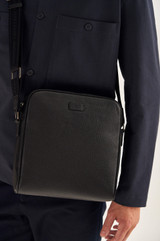 Oroton Harry Pebble Zip Around Satchel in Black and Pebble Leather for male