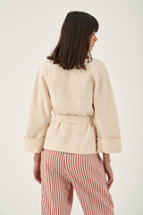 Oroton Double Breasted Linen Robe Jacket in Almond and 100% Linen for female