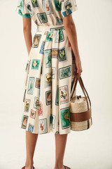 Oroton Stamp Print Skirt in Cream and 100% Silk for female