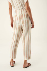 Oroton Stripe Pant in Dark Treacle and 100% Linen for female