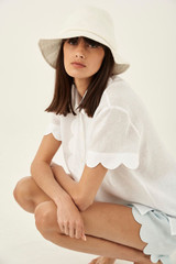 Oroton Scalloped Shirt in White and 100% Linen for female
