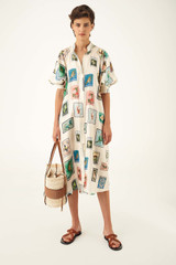 Oroton Stamp Print Dress in Cream and 100% Silk for female