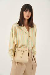 Oroton Margot Mini Bucket Bag in Light Sand and Pebble Leather for female