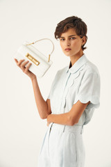 Oroton Luna Small Day Bag in Pure White and Smooth Leather for female