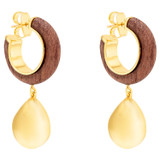 Oroton Cendre Drop Hoop in Wood/Gold and Brass Based Metal With Precious Metal Plating/Wood for female
