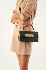 Oroton Luna Small Day Bag in Black and Smooth Leather for female