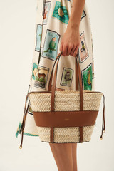 Oroton Anya Small Basket in Umber/Natural and Woven Straw/Smooth Leather for female