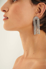 Oroton Etoile Arch Earrings in Silver/Clear and Brass Based Metal With Precious Metal Plating/Zirconia for female