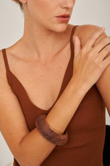 Oroton Cendre Medium Round Bangle in Wood/Gold and Brass Based Metal With Precious Metal Plating/Wood for female