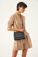 Oroton Alexis Crossbody in Black and Smooth Leather for female