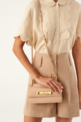 Oroton Luna Small Day Bag in Praline and Smooth Leather for female