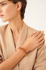 Oroton Pelle Bangle in Umber/Gold and Brass Based Metal With Precious Metal Plating/Leather Cord for female