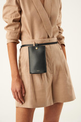 Oroton Aimee Belt Bag in Black and Smooth Leather for female
