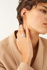 Oroton Peta Wide Ring in Silver/Clear and Brass Based Metal With Precious Metal Plating/Crystal for female