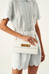 Oroton Luna Day Bag in Pure White and Smooth Leather for female