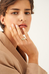 Oroton Peta Wide Ring in Gold/Clear and Brass Based Metal With Precious Metal Plating/Crystal for female