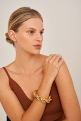 Oroton Luna Chunky Bracelet in Gold and Brass Based Metal With Precious Metal Plating for female