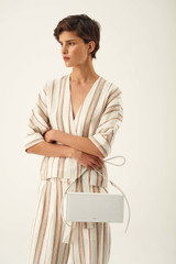 Oroton Dahlia Texture Baguette Box in White and Lizard Embossed Leather for female