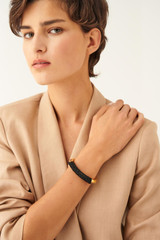 Oroton Pelle Bangle in Black/Gold and Brass Based Metal With Precious Metal Plating/Leather Cord for female