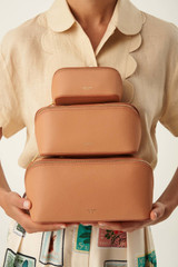 Oroton Avani Medium Case in Treacle and M:Leather L:Cotton T:Zinc for female