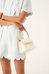 Oroton Leia Top Handle Bag in Clotted Cream and Ostrich Emboss Leather for female