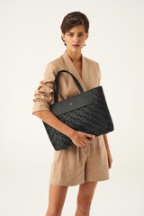 Oroton Jerome Woven Tote-East West in Black and Smooth Leather for female