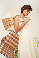 Oroton Danielle Canvas Medium Tote in Toast/Natural and Smooth Leather for female