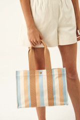 Oroton Fred Medium Tote in Sky Stripe and Coated Canvas/Smooth Leather for female