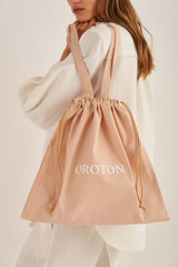 Oroton Logo Canvas Drawstring Tote in Straw and 100% Cotton for female