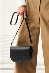 Oroton Muse Crossbody in Black and Saffiano Leather/Smooth Leather for female