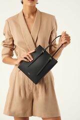 Oroton Alexis Small Tote in Black and Smooth Leather for female