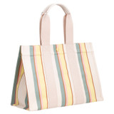 Oroton Fred Medium Tote in Yellow Stripe and Coated Canvas/Smooth Leather for female