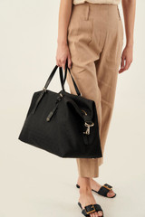 Oroton Elsie Weekender in Black and Elsie Signature Jacquard Fabric/Vachetta Leather for female